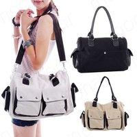 Korea New Style Casual Canvas Tote Bag Women's Fashion Shoulder Bag Unisex Handbag Purse B501#S5