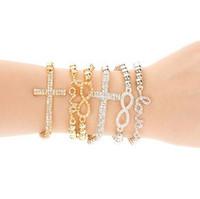 New 2014 shiny rhinestone cross love women bracelet jewelry S5724