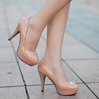 Princess dreams women's shoes black ultrafine high-heeled shoes red wedding shoes platform round toe women's ol single shoes