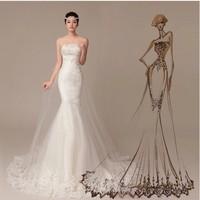 Wedding dresses, the new fishtail wedding dress and wipes bosom, sexy lace belt, trailing white wedding dress