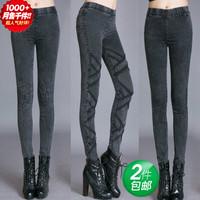 2014 spring casual women jeans female slim mid waist pencil pants elastic pants legging