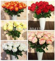 "10Pcs/lot  65cm/25.59"" Length Artificial Silk Flowers Simulation Single Cored Rose Sweetheart Roses 7 Colors Wedding Flower"