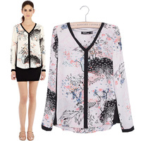 Free Shipping New 2014 Brand Fashion Designer Women Spring Autumn Long Sleeve V Neck Shirts, Cute Print Chiffon Blouse 6975