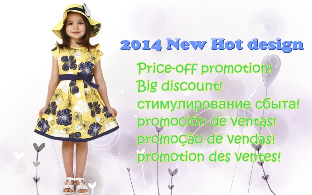 2014 New Girl dress/ Teenage dress for about 4-8 years children/ Yellow dress with bowknot and floral-prin(China (Mainland))