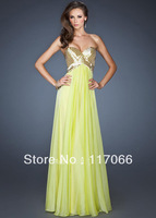 Custom made 2014 new arrival amazing A-line sweetheart sheer sequined sexy long chiffon prom dress