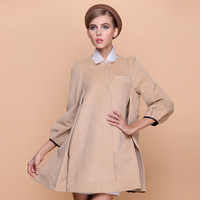 2013 women's solid color thickening woolen outerwear female medium-long overcoat fashion