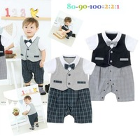 2014 new arrival gentlman bow fake two pcs jacket  boy rom per summer short sleeve deco baby rompers body suits designer