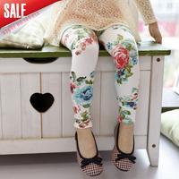 2014 hot sale girls printed flower leggings children spring summer elastic waist legging soft 5pcs/lot A028