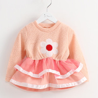 One-piece dress baby children's clothing 2014 children's spring clothing female children knit dress
