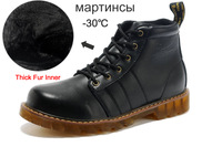 HOT! Winter Plush Brand New men's Martens Snow boots, Genuine Leather , Plush Oxfords Casual shoes,SIZE39-44 +Free shipping