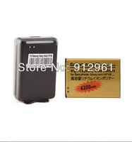 2pcs/lot 4200mAh new extended replacement gold high capacity BATTERY+Dock charger for Samsung Galaxy Note 2 II N7100+free ship