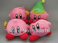 "Hot Sale Nintendo Kirby Adventure 4.5"" Kirby Plush Dolls Toys 1 set/4 pcs Free Shipping"