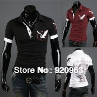 2014 new  men's short sleeve t- shirt  eagle print men's t-shirt