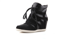 Real Leather Women's Wedge Hidden Increasing Heel Fashion Sneaker,Eur35-40 Instock