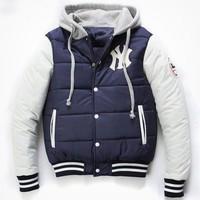 Free Shipping Stylish Men Single Breasted Hoodie Jacket Casual Winter Warm Thick Baseball Coat