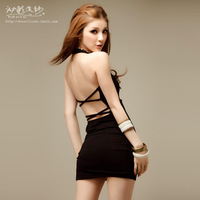Yarn 2014 spring sexy women one-piece dress slim racerback basic slim hip miniskirt