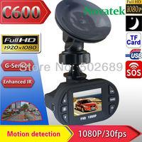Free Shipping!2014 Newest Mini Size HD 1920*1080P 12 IR LED Car Vehicle CAM Video Dash Camera C600 Recorder Russian Car DVR