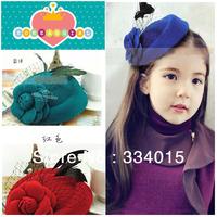10 pcs/lot(7 colors) new baby headband Bonnet Style Baby Girl's Big Flower Hat Kids Wool Felt Hat  Baby Cap Headwear PJ-161