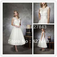 Short Wedding Dress V-neckline Lace Crystal Tea-length/Mid-calf Sheer Back Bridal Wedding Dress Gown vestido de noiva 2014