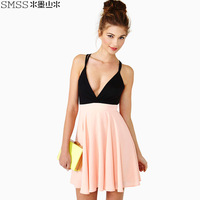 6Size to pick  fashion sexy racerback deep V-neck racerback bandage patchwork high waist spaghetti strap chiffon one-piece dress
