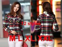 2014 new Women Button Casual Lapel Shirt Plaid Checks Shirt Top Blouse Long Sleeve Freeshipping 12 styles M L XL XXL