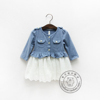 2014 spring female child baby infant 100% cotton patchwork lace pocket  cardigan