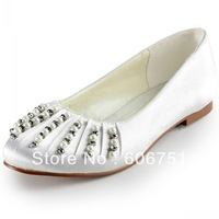 Blue round toe wedding flats shoes for women satin pearl beads with rhinestone custom shoes plus size 4-14 free shipping