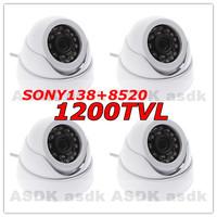 HKPOST free shipping, 4pcs 1/3 1200TVL 24LED IR SONY IMX138 sensor + FH 8520 DSP Security Mini Dome Video Camera