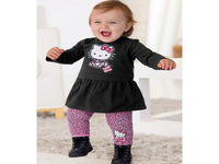 Retail new 2014 summer fashion casual princess girls clothing sets long sleeve hello kitty T shirt kids pants girl clothing