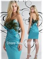 MCD24 Beading Blue Satin Glamorous High-Low Evening Dress Peacock Fashion Cocktail Dress