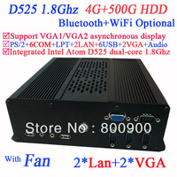 Hottest Mini-ITX Box PC with 2*VGA 2*LAN 6*COM multi function NM10 Intel Atom D525 dual-core 1.8Ghz CPU included 4G RAM 500G HDD