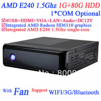 mini desktop computer with HDMI VGA AMD E240 1.5GHz integrated AMD Radeon HD6310 graphics support 1080P HD screen 1G RAM 80G HDD