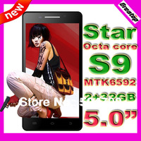 Octa Core phone star S9 5 inch 1920x1080 mtk6592 2G+32GB Dual Sim GPS smart phone +free leather case SG post free shipping