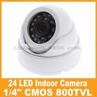 "HK POST FREE, 800TVL 24LED IR Color 1/4"" CMOS Security Mini Dome Video Camera, white CCTV camera"