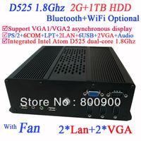 MINI PC ITX Computer with 2*VGA 2*LAN 6*COM multi function NM10 Intel Atom D525 dual-core 1.8Ghz CPU included 2G RAM 1TB HDD