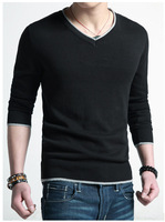 Free shipping 2014 v-neck men's spring sweaters men pullovers autumn men's fashion knitting shirt