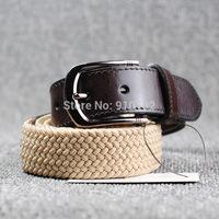 Men knit elastic waistband first layer cow hide silk casual golf canvas belt Stretch woven belts