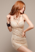 2014 Spring New Lady Sexy Black/Beige Strapless Spaghetti Strap Sequins Party Club Mini Dresses,Free Size