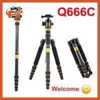 Newest Q-666C Portable Carbon fiber Tripod Monopod Kit & Ball Head Compact Travel