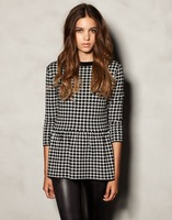 2014 European Style Ladies New Winter Fashion Houndstooth Knit Dress Short Paragraph G