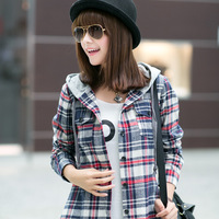 2014 New Spring Ladies British Style Cotton Plaid Long-sleeved Shirt Long Sections Hooded Shirt