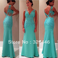 2014 Hot Abendkleider Turquoise See Through Lace Appliques Evening Dress Vestidos Belle Pageant Engagement Gowns Robe De Soiree
