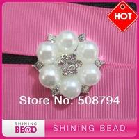 Flat back pearl rhinestone brooch
