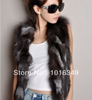 HOT!new 2014 real Silver fox fur vest women's real fox fur vest warm winter large size women genuine leather fox fur jacket