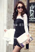 Lastest Sexy Bandage Dress new 2014 Black And White Patchwork Long Sleeve Vestidos Novelty Clubwear Casual Mini Dress S-XL