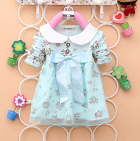 Hot Sale 2014 New Arrival Bule/Pink Bowknot Flowers Long-Sleeve Dress 100% Cotton Baby Girl's Clothes Spring/Autumn