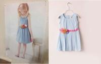 Boutique girl dress flower appliques pleated sleeveless summer sundress baby girls dress children clothing