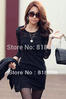 New 2014 Trendy Sexy Bandage Dress Black Long Sleeve Women Vestidos Hot Women Nightclub Casual Dress Plus Size S-XL