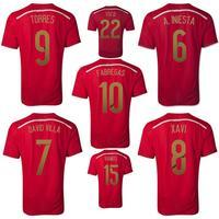 New 2014 World Cup Spain espana home team soccer football jerseys t shirt sportswear equipment camisetas de futbol camisa