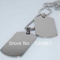 Fashionable Genuine Stainless Steel Engravable Army Dog Tags Necklace Two Tags